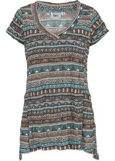 Удлиненная футболка с коротким рукавом (серо-коричневый) Bonprix