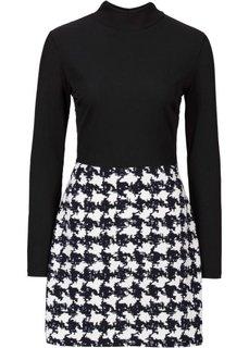 Трикотажное платье (ярко-розовый/черный/белый с ри) Bonprix
