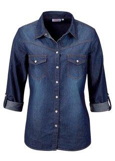 Джинсовая рубашка (синий «потертый») Bonprix