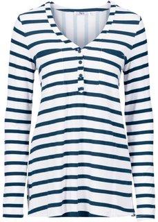 Трикотажная блузка с длинным рукавом (лососевый/белый в полоску) Bonprix