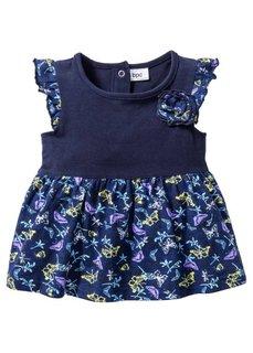 Мода для малышей: платье + легинсы + лента для волос из биохлопка (3 изд.), Размеры  56/62-104/110 (ночная синь/темно-синий) Bonprix