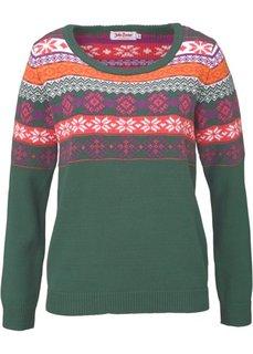 Пуловер (темно-синий с узором) Bonprix