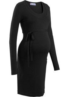 Мода для беременных: вязаное платье с поясом (синий океан) Bonprix
