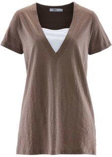 Удлиненная футболка 2 в 1 (сапфирно-синий) Bonprix