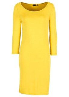 Трикотажное платье (черный/белый/клубничный в поло) Bonprix