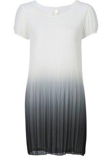 Плиссированное платье в стиле батик (белый батик/абрикосовый) Bonprix