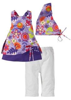 Платье + леггинсы + косынка (комплект из 3-х изделий) (белый + цветочный рисунок) Bonprix