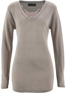 Удлиненный пуловер с кружевом (серо-коричневый) Bonprix
