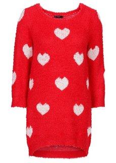 Удлиненный пуловер с рукавом 3/4 (черный/цвет белой шерсти с узо) Bonprix