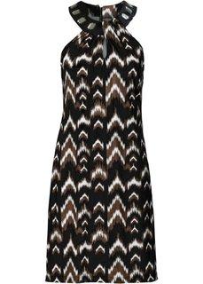 Трикотажное платье (черный/экрю) Bonprix