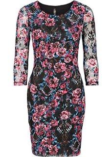 Кружевное платье (синий в цветочек) Bonprix