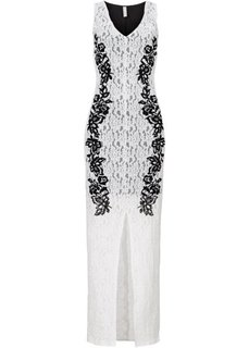 Платье с напринтованным кружевным узором (черный/серебристый) Bonprix