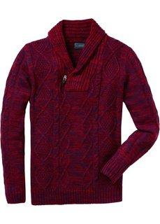 Пуловер Regular Fit с шалевым воротником (черный/шиферно-серый меланж) Bonprix