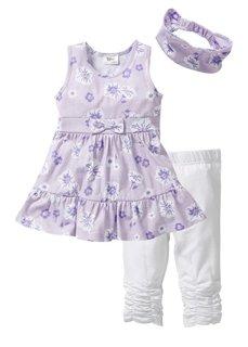 Платье + лента для волос + легинсы (3 изд.) (нежно-розовый/белый) Bonprix