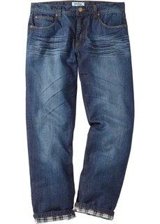 Термоджинсы Regular Fit Straight, низкий + высокий рост (U + S) (темно-синий) Bonprix