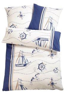 Постельное белье Корабль, линон (синий) Bonprix