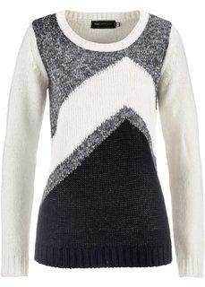 Пуловер (нежно-розовый/антрацитовый мел) Bonprix