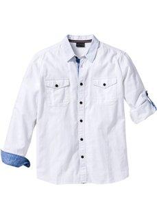 Рубашка Regular Fit с длинным рукавом (синий меланж) Bonprix
