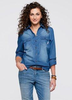 Джинсовая блузка (голубой выбеленный «потертый») Bonprix
