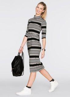 Трикотажное платье-миди (черный/серый/белый в полоску) Bonprix