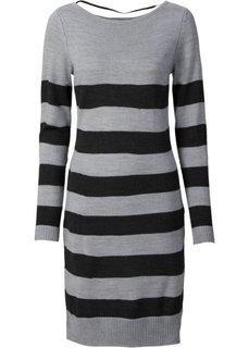 Вязаное платье (черный/белый в полоску) Bonprix