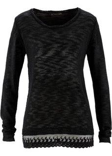 Пуловер с кружевом (лососевый) Bonprix