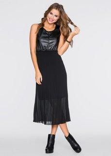 Платье с плиссированными складками (черный) Bonprix