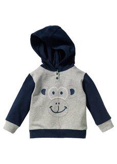 Мода для малышей: свитшот из биохлопка, Размеры  56/62-104/110 (светло-серый меланж/темно-сини) Bonprix