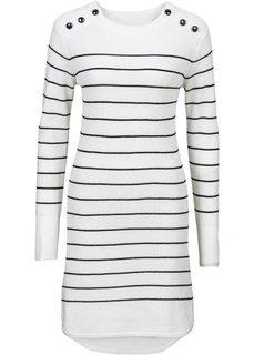Вязаное платье (черный/цвет белой шерсти в пол) Bonprix