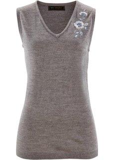 Безрукавка (цвет белой шерсти с вышивкой) Bonprix