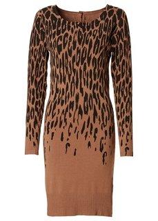 Вязаное платье (серый/черный с узором) Bonprix