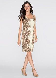 Платье (кремовый/коричневый) Bonprix