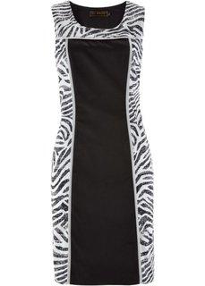 Платье с узором зебры (белый с рисунком зебры/черный) Bonprix