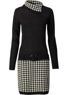 Вязаное платье (темно-красный/черный) Bonprix