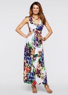 Трикотажное платье (белый с рисунком) Bonprix