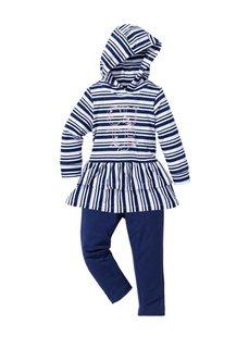 Платье с капюшоном + легинсы (2 изд.), Размеры 80-134 (белый/светло-серый меланж в по) Bonprix
