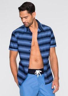 Рубашка Slim Fit с коротким рукавом (синий в полоску) Bonprix