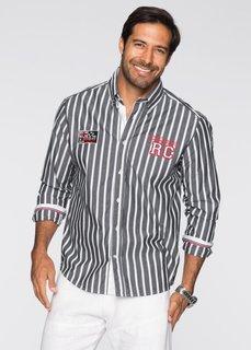 Полосатая рубашка Regular Fit с длинным рукавом (черный/белый в полоску) Bonprix