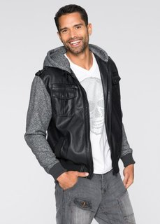 Куртка Regular Fit из искусственной кожи (черный/серый меланж) Bonprix