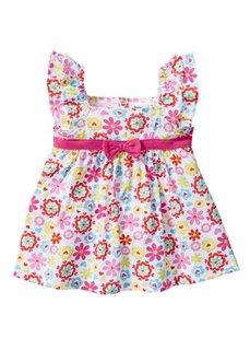 Мода для малышей: платье + легинсы + платок (3 изд.), Размеры  68/74-104/110 (белый/горячий ярко-розовый) Bonprix