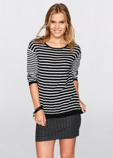 Пуловер в разную полоску (черный/белый в полоску) Bonprix