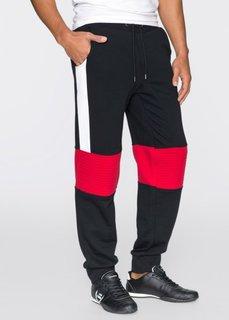 Трикотажные брюки Slim Fit (черный/белый/красный) Bonprix