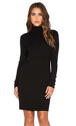Мини платье в рубчик с высоким воротом и длинным рукавом - Enza Costa