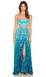 Макси платье с вырезом и рисунком с перьями - Caffe