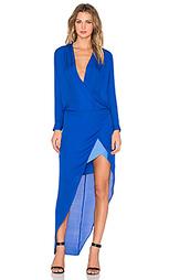 Вечернее платье с контрастной лентой и длинным рукавом - Mason by Michelle Mason