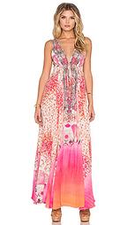 Длинное платье с v-образным вырезом и завязкой на шнурок - Camilla