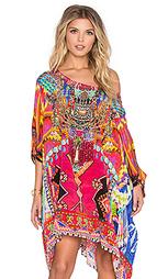 Короткое платье в восточном стиле с круглым вырезом - Camilla