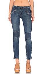 Узкие мото джинсы с молниями внизу штанин - Etienne Marcel