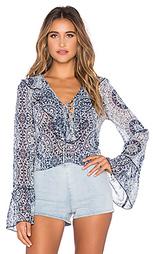 Блуза с принтом и отделкой рюшами спереди - Band of Gypsies