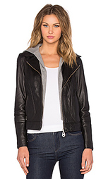 Куртка с кожаным капюшоном - DOMA